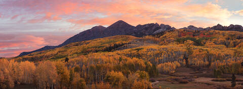 Autumn, CO, Colorado, Colorado Fall Color, Crested Butte, Crested Butte Fall Color, Dyke, Fall, Fall Color, Horse Park, Horse Ranch Park, Kebler Pass, Pano, Panorama, Panoramic, Ruby, Ruby Peak, Sunri