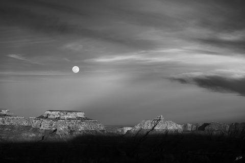AZ, Arizona, Black & White, Full Moon, Grand Canyon, Moon, National Park, South Rim, Vishnu Temple, Wotans Throne