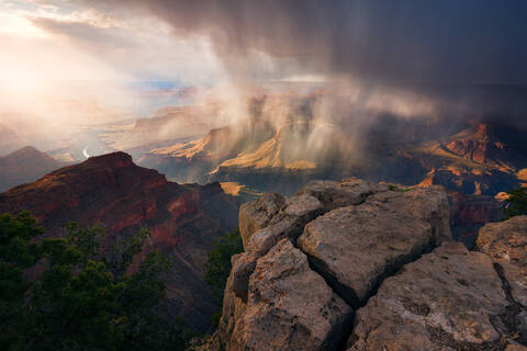 Arizona, Colorado River, Grand Canyon, National Park, Rain, South Rim, Storm, Moran, Hopi Point