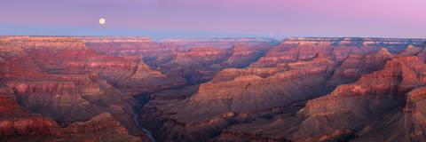 AZ, Arizona, Colorado River, full moon, Grand Canyon, Moon, National Park, Pano, Panorama, Panoramic, South Rim, Winter