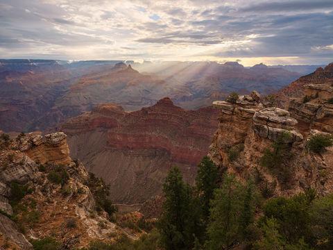 AZ, Arizona, Crepuscular, God Beams, Grand Canyon, Light, Mather Point, Monsoon, National Park, Rays, South Rim, Sunbeam
