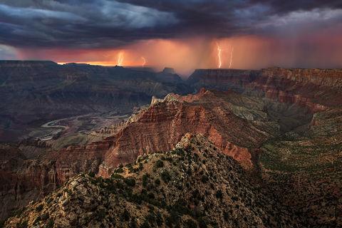 AZ, Arizona, Colorado River, Grand Canyon, Lightning, Lipan Point, Monsoon, National Park, South Rim, Summer, Storm, Thunderstorm, Weather