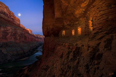 Arizona, Below the Rim, Colorado River, Expedition, Granaries, Grand Canyon, Grand Canyon National Park, Marble Canyon, Moon, Moonrise, Nankoweap, National Park, Native American, River Trip, Ruin,
