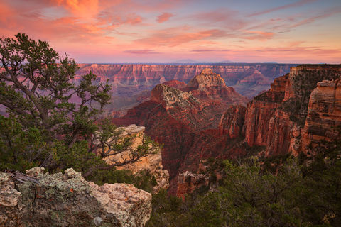 Arizona, Freya Castle, Grand Canyon, National Park, North Rim, Sunset, Vishnu Temple, Walhalla, Walhalla Overlook