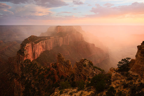 Arizona, Cape Royal, Wotans Throne, Grand Canyon, North Rim, Monsoon, Weather, Storm, Rain, Dramatic