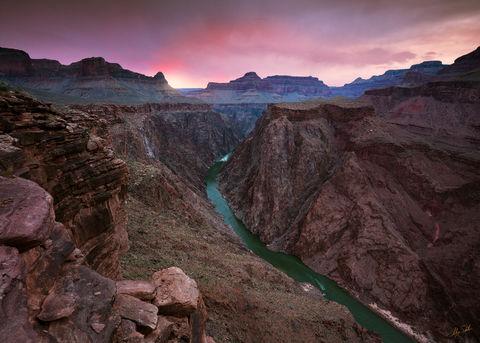Grand Canyon, National Park, Plateau Point, Colorado River, Sunset, Horn Creek Rapid, Below the Rim, Arizona, Inner Gorge, Granite Gorge