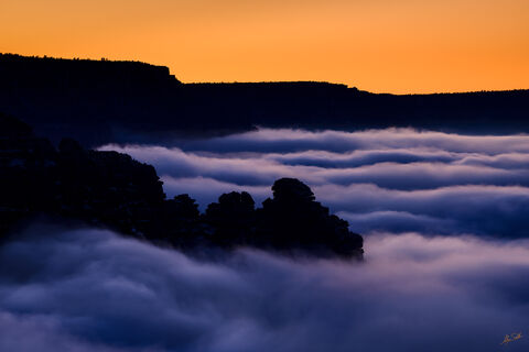 AZ, Arizona, Clouds, Fog, Grand Canyon, Inversion, National Park, Sinking Ship, South Rim, Temperature Inversion, Weather, Winter