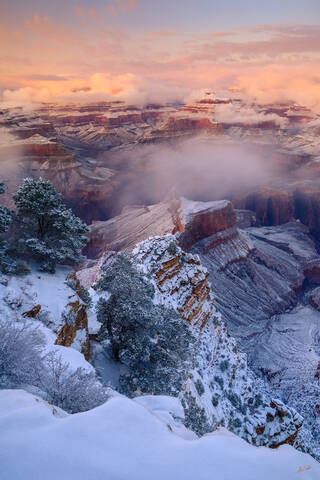 AZ, Arizona, Grand Canyon, Hopi Point, National Park, Snow, South Rim, Winter