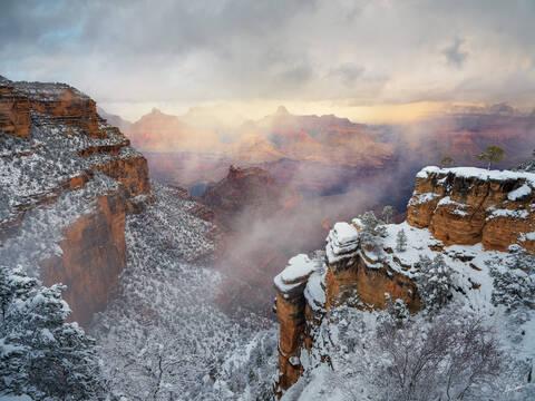 AZ, Arizona, Grand Canyon, South Rim, Thomas Moran, Winter