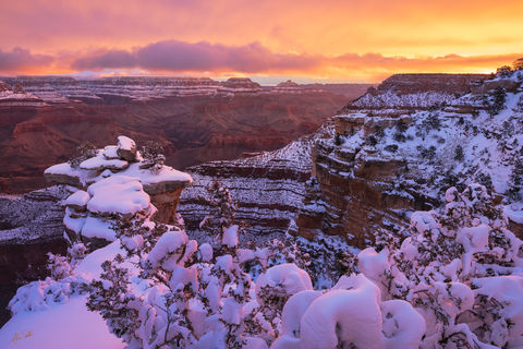 AZ, Arizona, Grand Canyon, Grand Canyon National Park, Snow, Snow at the Grand Canyon, South Rim, South Rim of the Grand Canyon, Sunrise, Sunrise at the Grand Canyon, Winter, Winter at the Grand Canyo