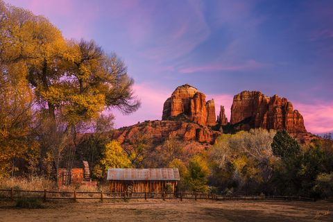 Arizona, Autumn, Cabin, Cathedral Rock, Crescent Moon Ranch, Fall Color in Sedona, Red Rock Crossing, Sedona