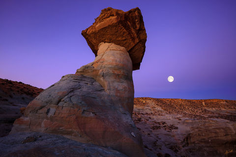 AZ, Arizona, Desert, Full Moon, Hoodoo, Geology, Lunar, Moon, Stud Horse Point, Stud Horse Point Hoodoos, Toadstool