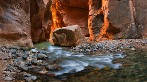 American West, Colorado Plateau, Imlay Boulder, Southwest, Utah, Virgin River, Virgin River Narrows, Zion, Zion National Park