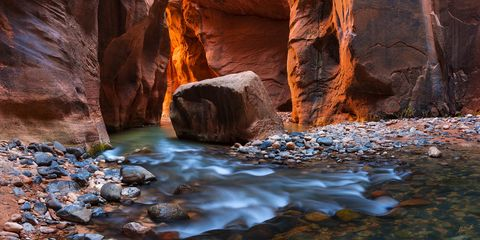 American West, Colorado Plateau, Imlay Boulder, Southwest, Utah, Virgin River, Virgin River Narrows, Zion, Zion National Park