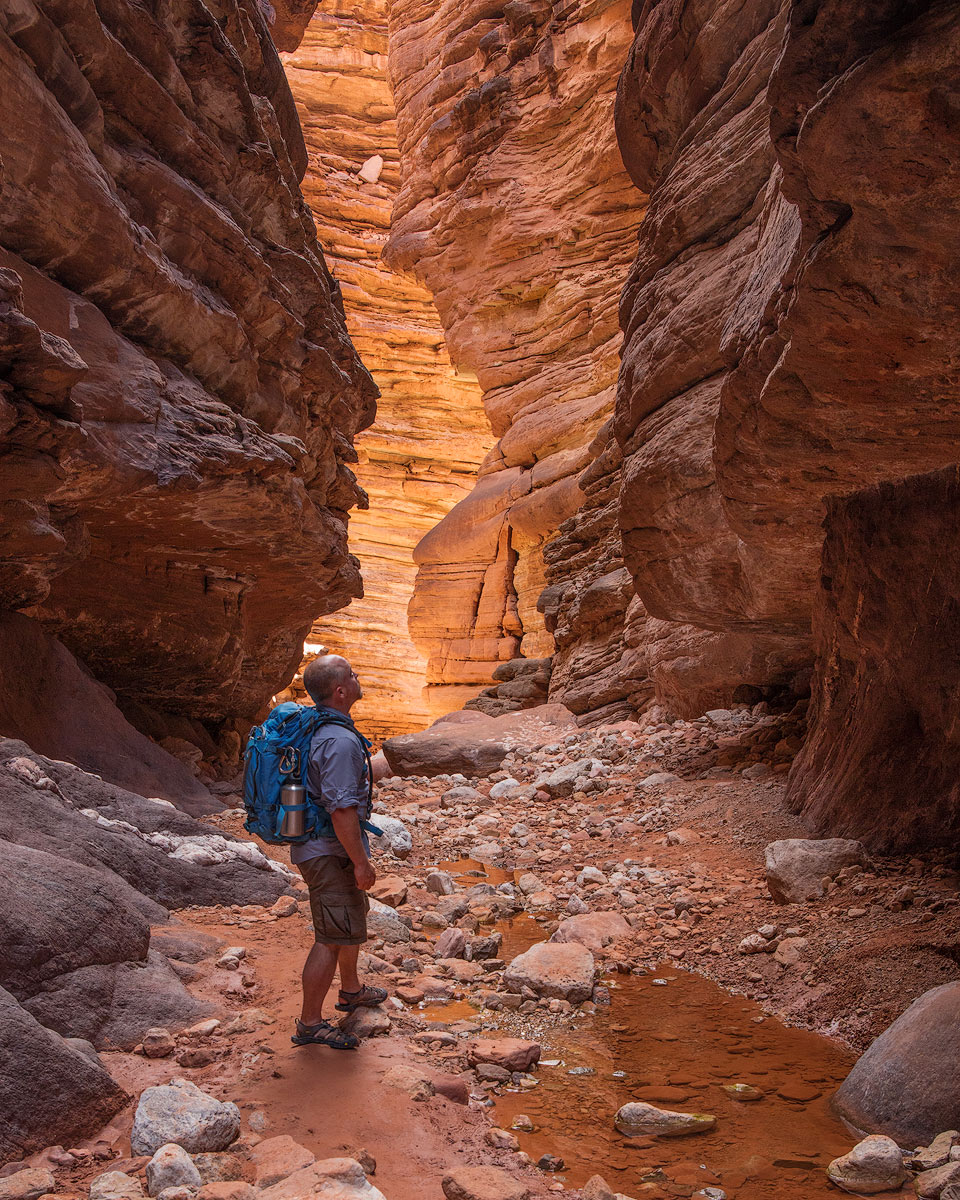 Hiking in Blacktail Canyon, a side canyon to the Grand Canyon near mile 120 on the Colorado River.