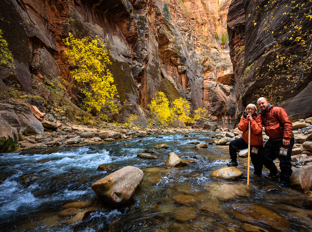 Sally and I are hiking the Virgin River Narrows in Zion National Park. This hike has to be one of the best in the American Southwest...