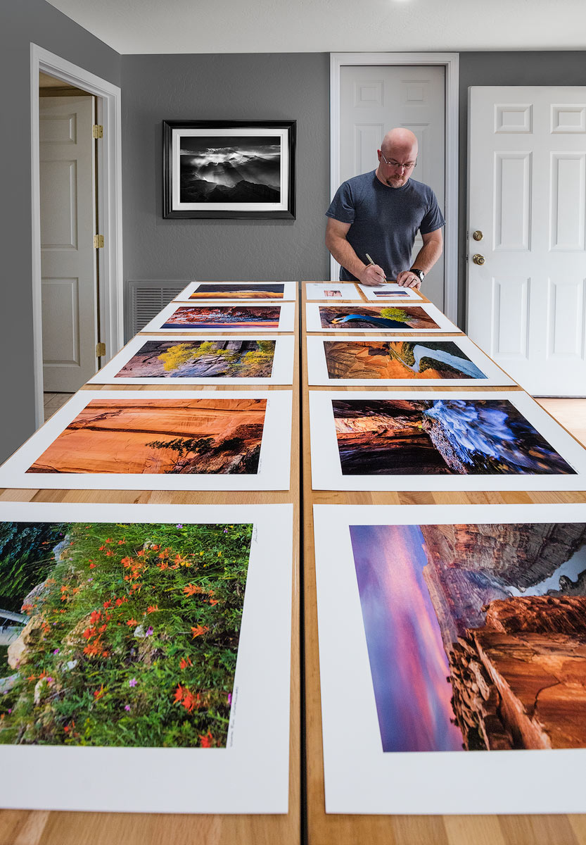 In my home studio preparing fine art prints for clients.