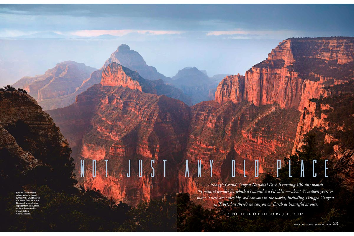 Pages 22 & 23.Sunlight finds a break in early morning rain showers painting the cliffs of the North Rim in warm light.