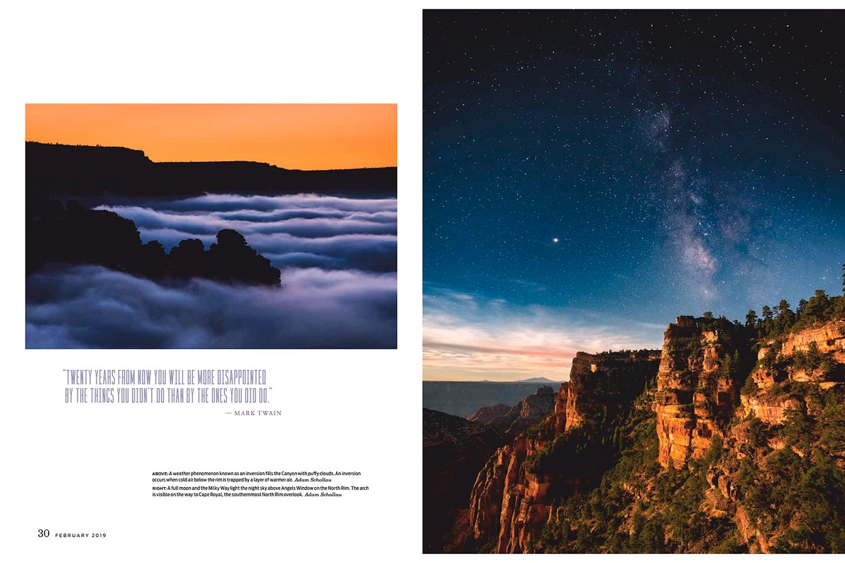 Arizona Highways, magazine, February, 2019, Grand Canyon, national park, centennial, inversion, clouds, Milky Way, night sky, south rim, north rim, angels window, photo