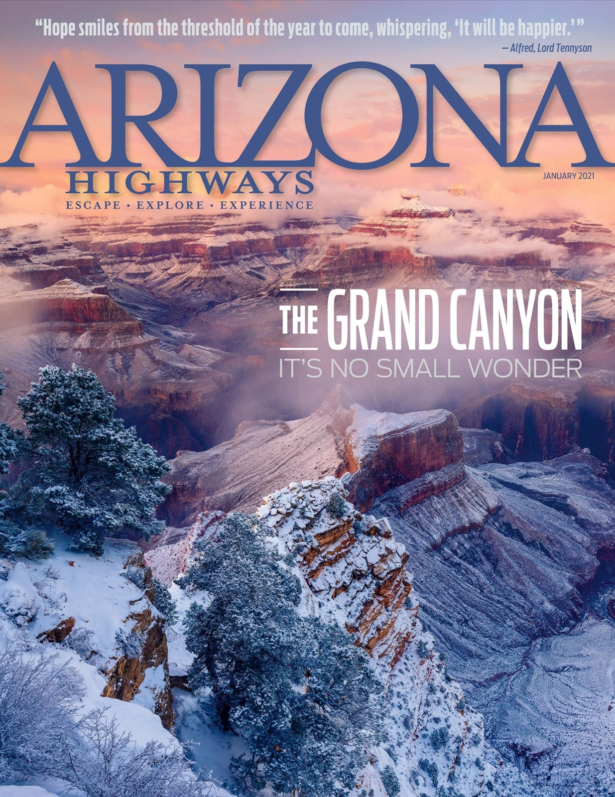 The cover of the January 2021 issue of Arizona Highways features my photograph Clearing Winter Storm at Hopi Point depicting...