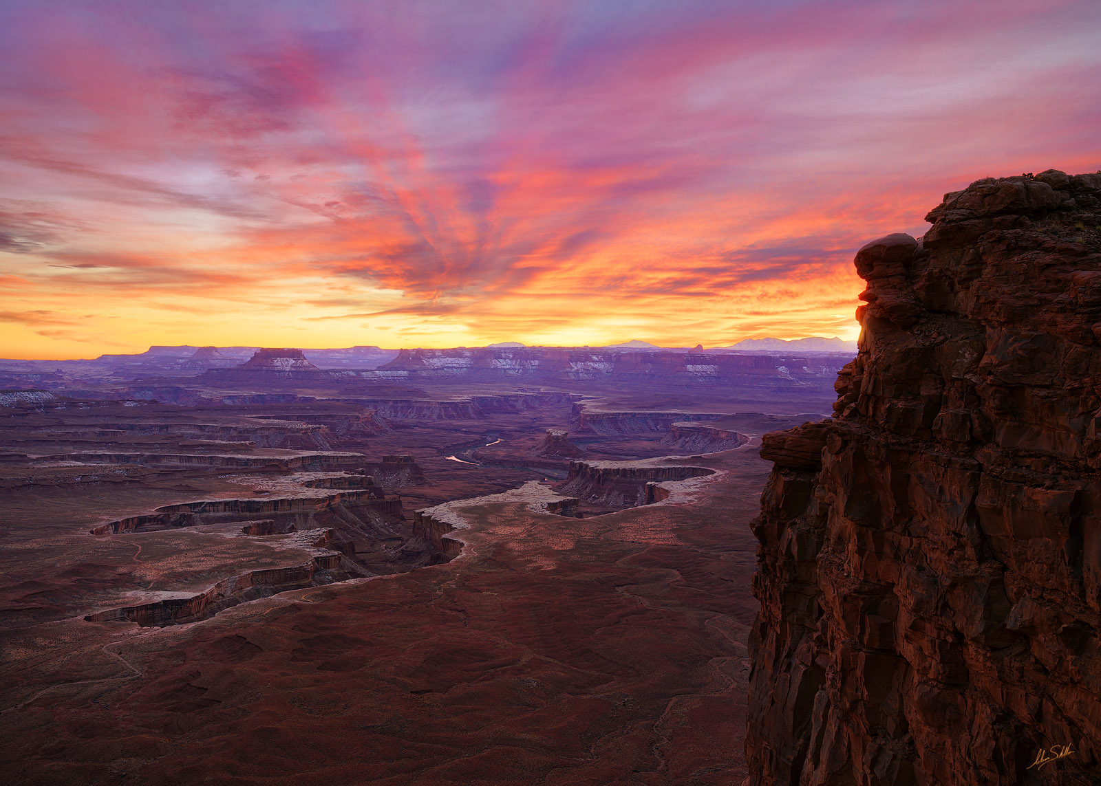 Canyonlands, Colorado Plateau, Green River Overlook, Island in the Sky, Moab, National Park, People, Person, Southwest, Sunset, photo