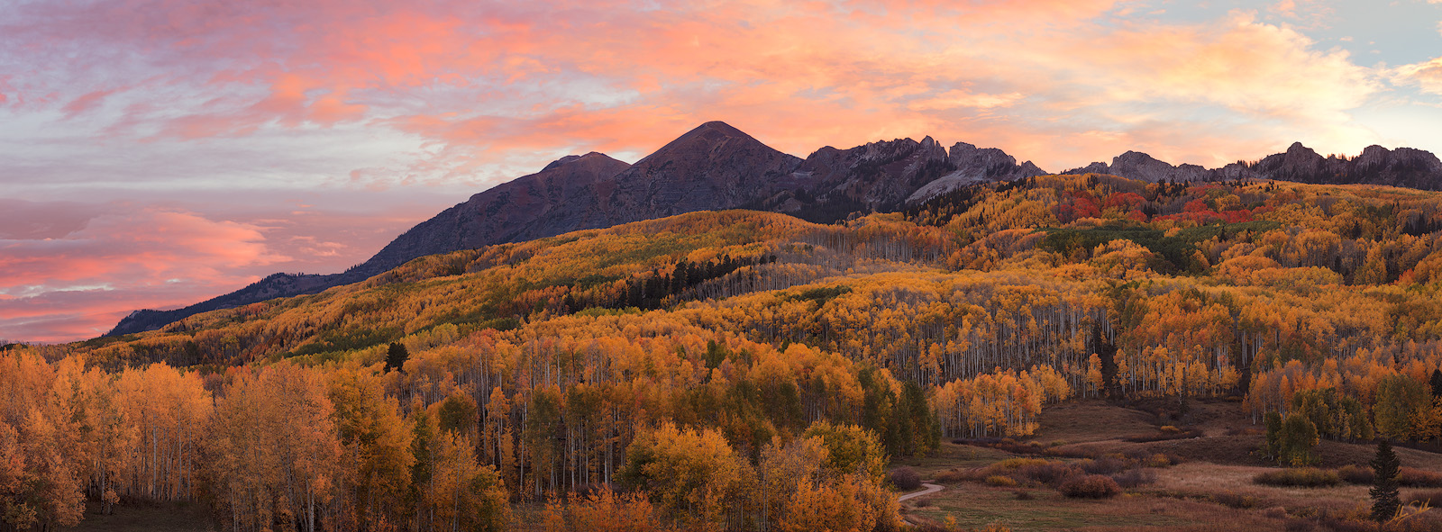 Autumn, CO, Colorado, Colorado Fall Color, Crested Butte, Crested Butte Fall Color, Dyke, Fall, Fall Color, Horse Park, Horse Ranch Park, Kebler Pass, Pano, Panorama, Panoramic, Ruby, Ruby Peak, Sunri, photo