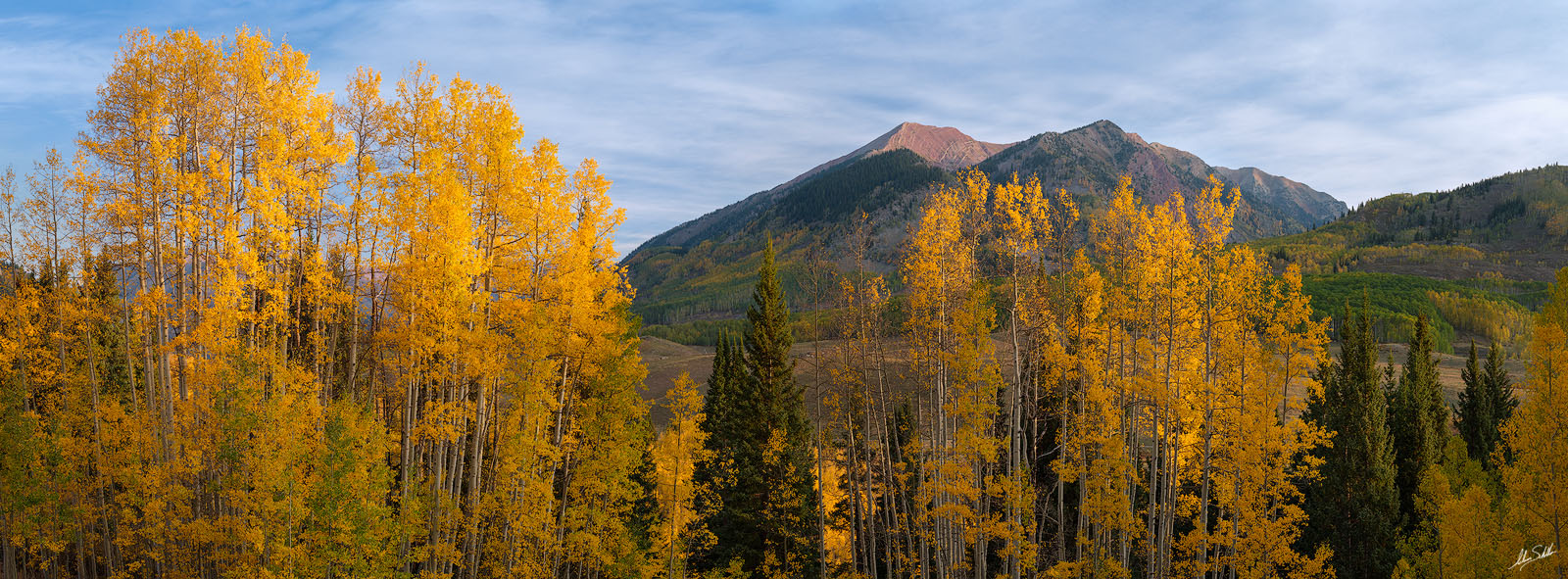 A panoramic view of fall color near Crested Butte with Avery Peak in the distance. © Adam Schallau, all rights reserved.