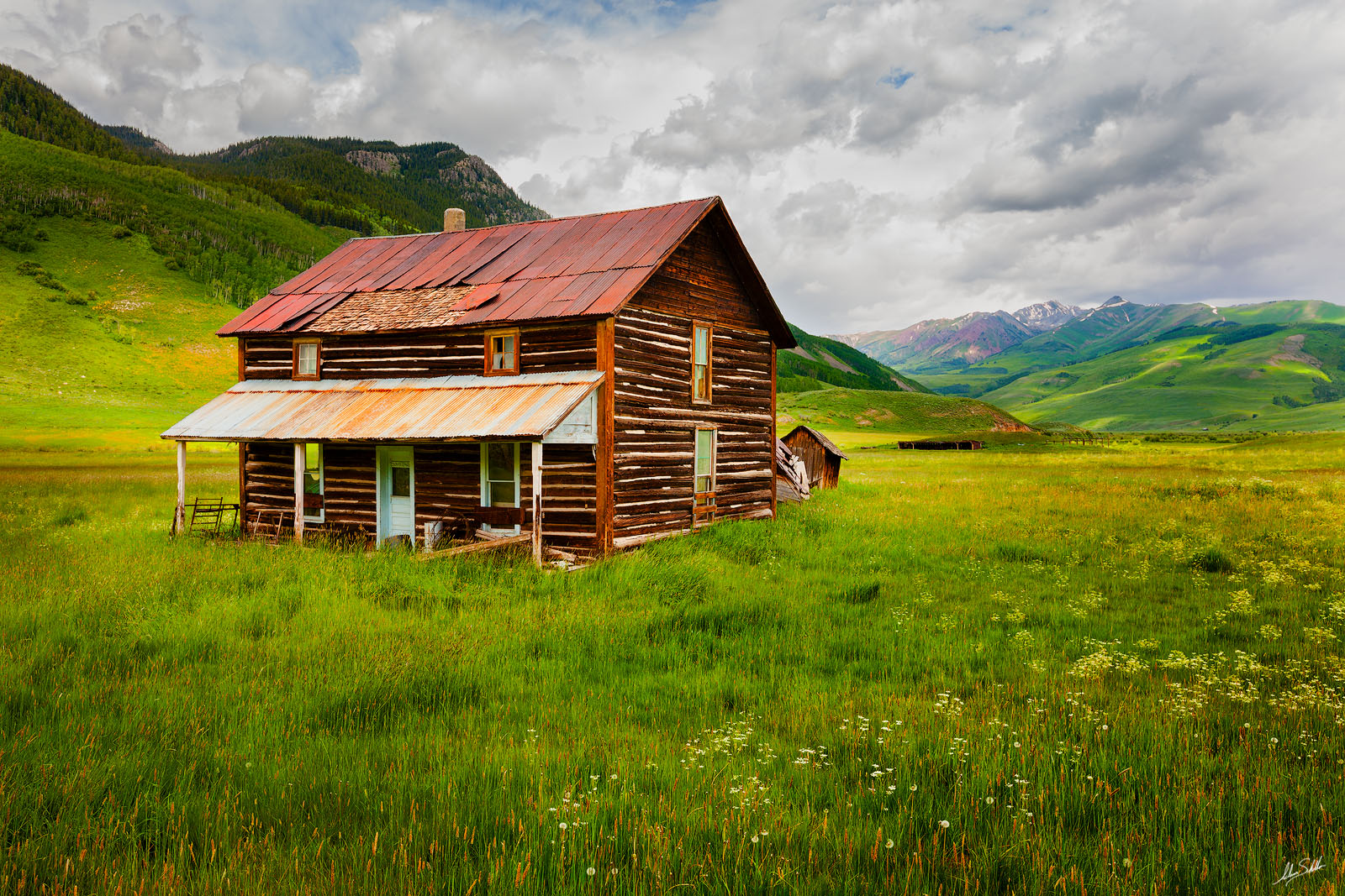 CO, Cabin, Colorado, Crested Butte, Homestead, Log cabin, Old Home, Ranch, Wildflowers, photo