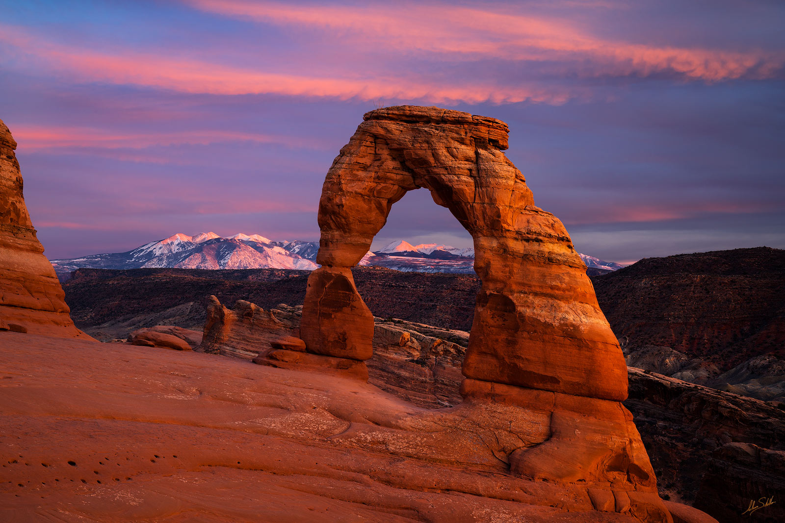 Arch, Arches, National Park, Delicate Arch, La Sal Mountains, Moab, Snow, Utah, photo
