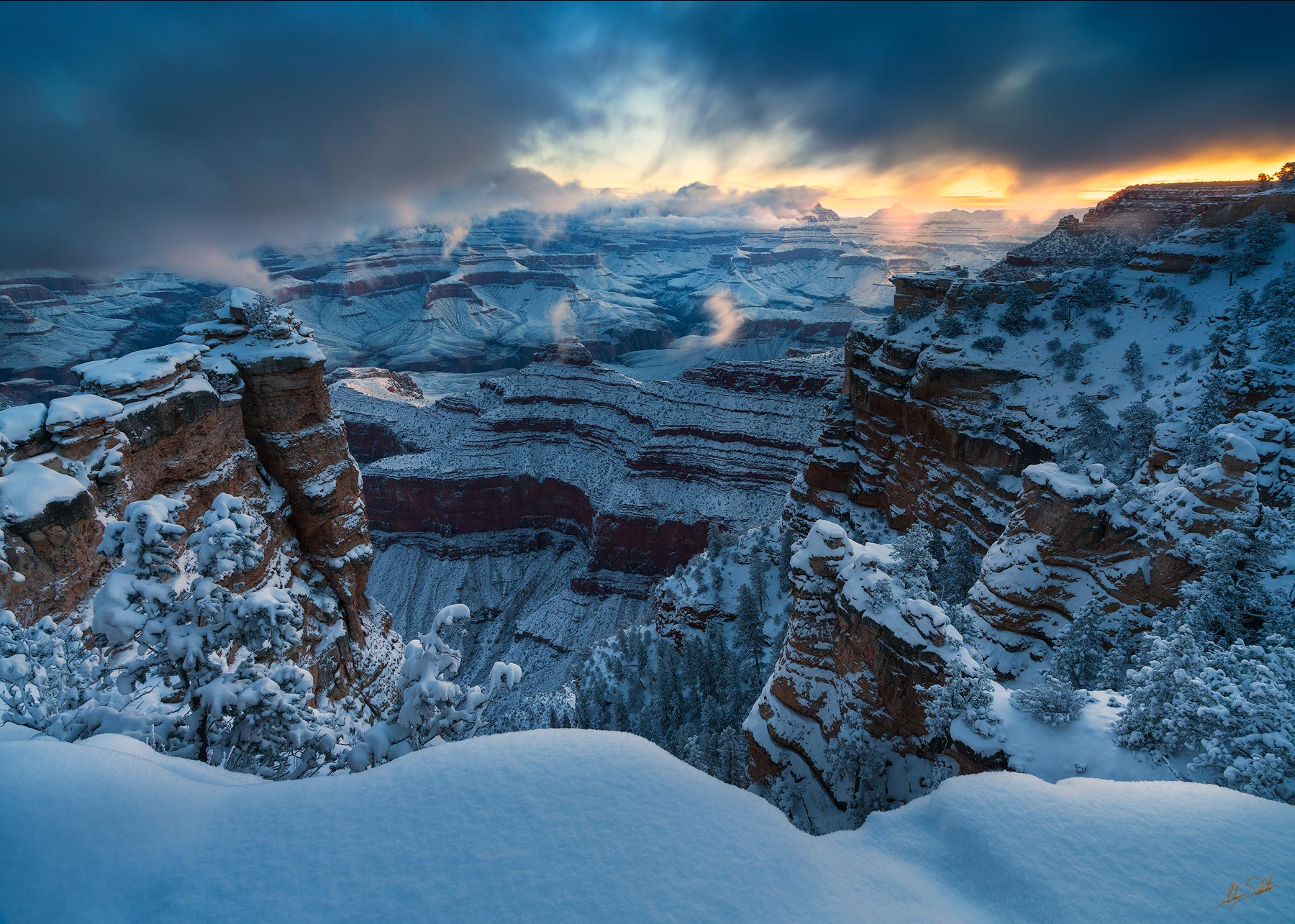 First light of the new year from the South Rim of Grand Canyon National Park. We were also greeted with fresh snow all the way...