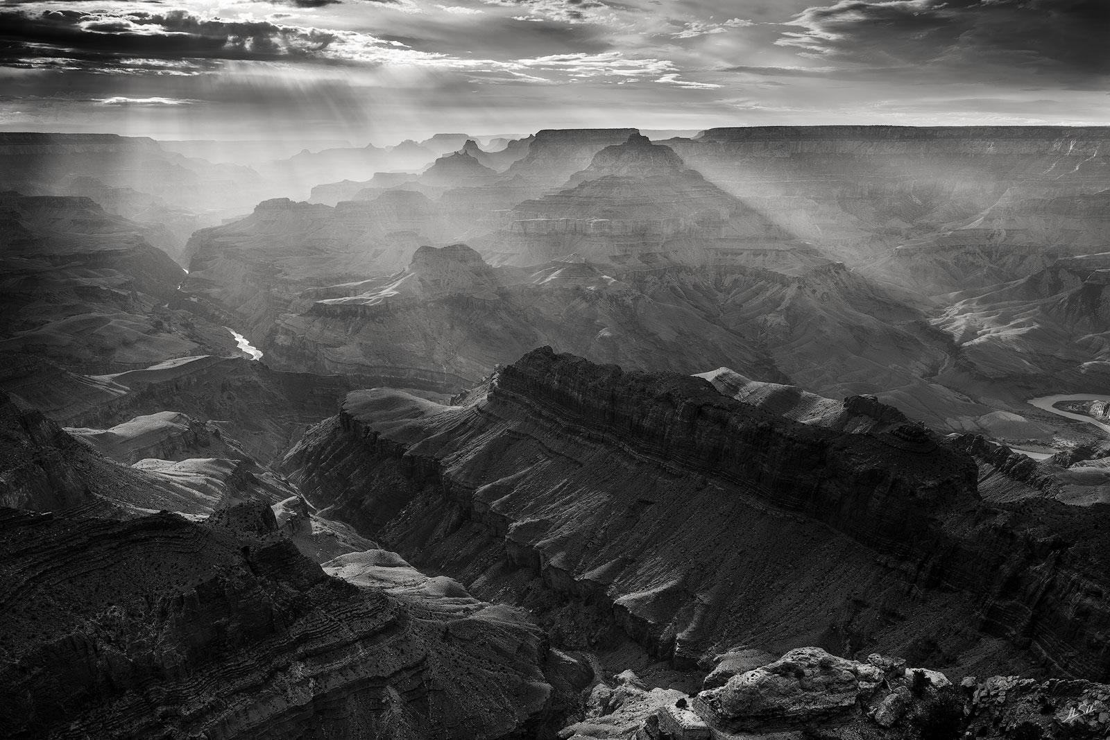 AZ, Arizona, Black & White, Colorado River, Crepuscular Rays, God Beams, Grand Canyon, Lipan Point, National Park, South Rim, Summer, Sun beams, photo