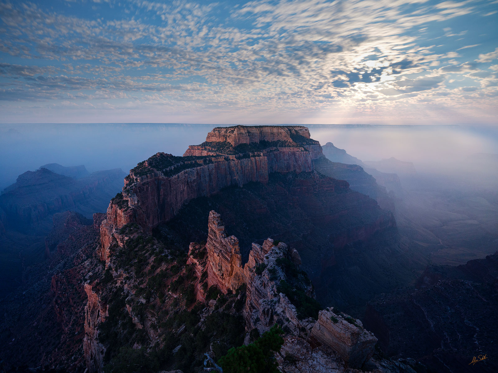 AZ, Arizona, Cape Royal, Grand Canyon, Moon, Moonlight, Moonset, National Park, Smoke, South Rim, Wotans Throne, forest fire, photo