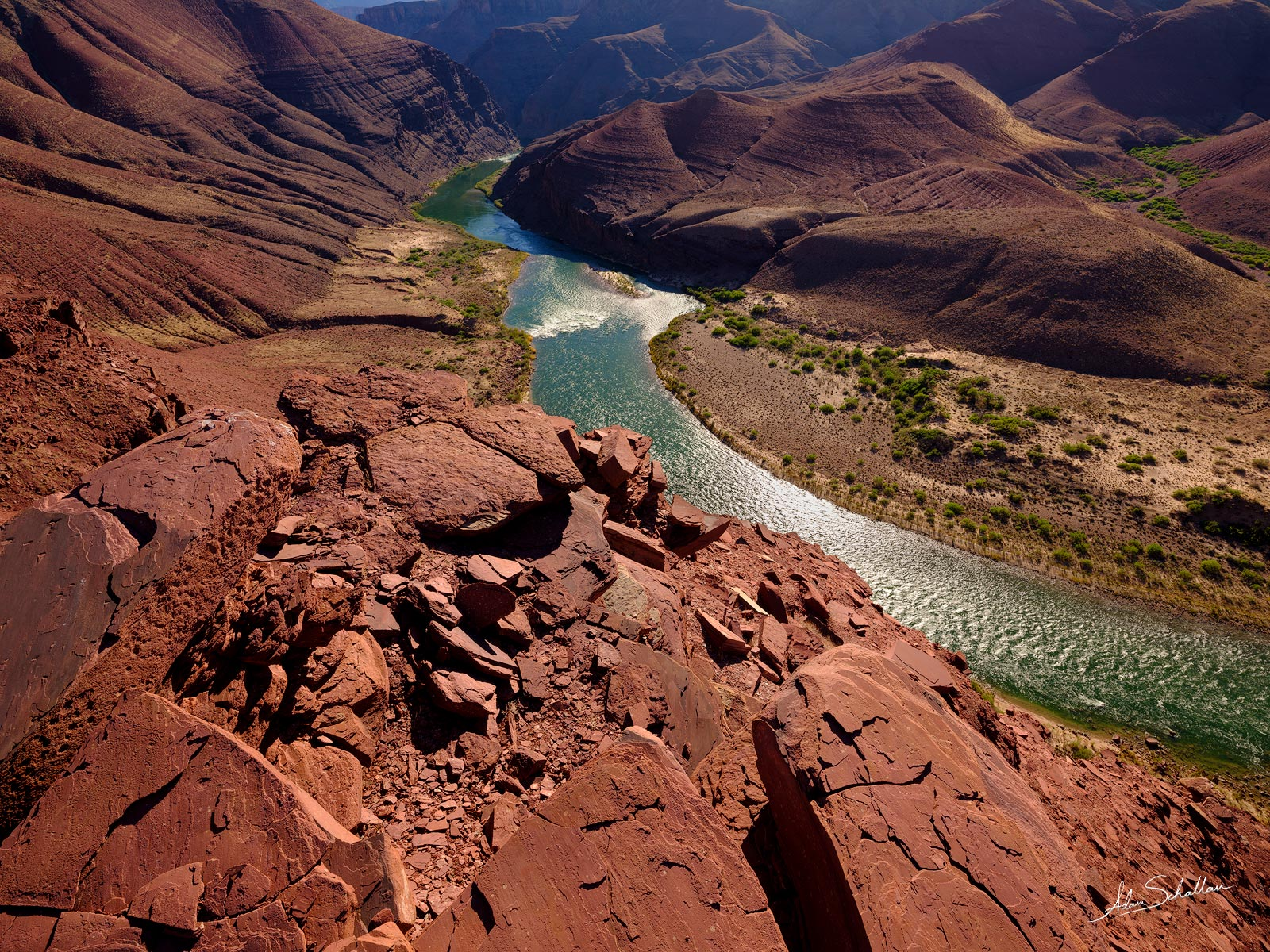 The Colorado River near the Unkar Delta. From the Escalante Route in Grand Canyon National Park.