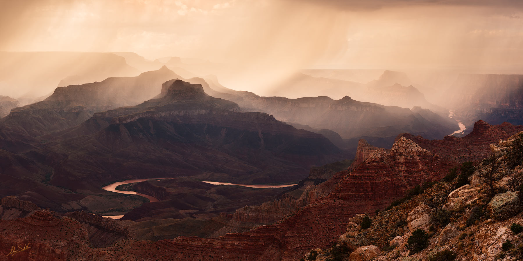 Colorado River, Grand Canyon, Lipan Point, National Park, South Rim, Rain, Sunset, photo