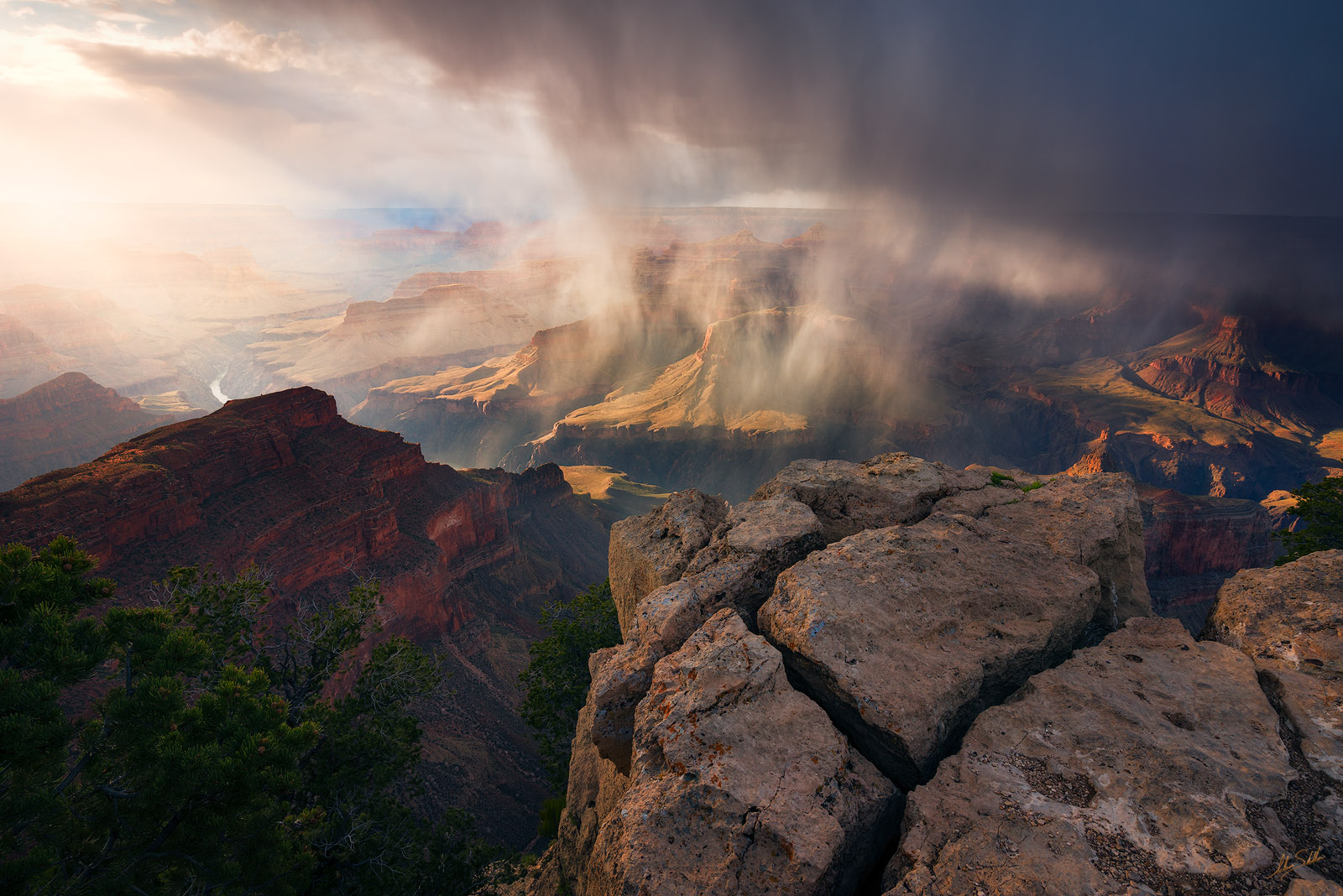 Arizona, Colorado River, Grand Canyon, National Park, Rain, South Rim, Storm, Moran, Hopi Point, photo