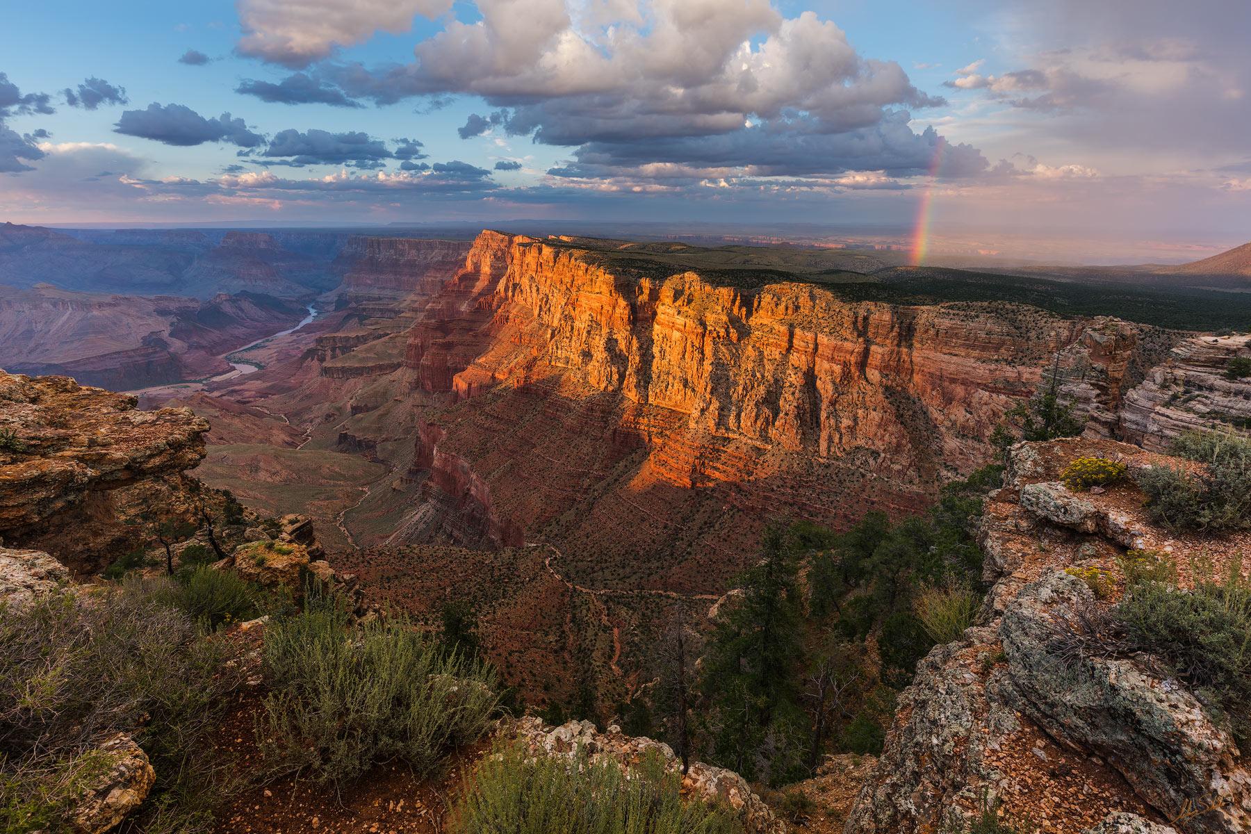 Arizona, Colorado River, Desert View, Grand Canyon, Monsoon, National Park, Painted, Palisades of the Desert, South Rim, Rainbow, photo