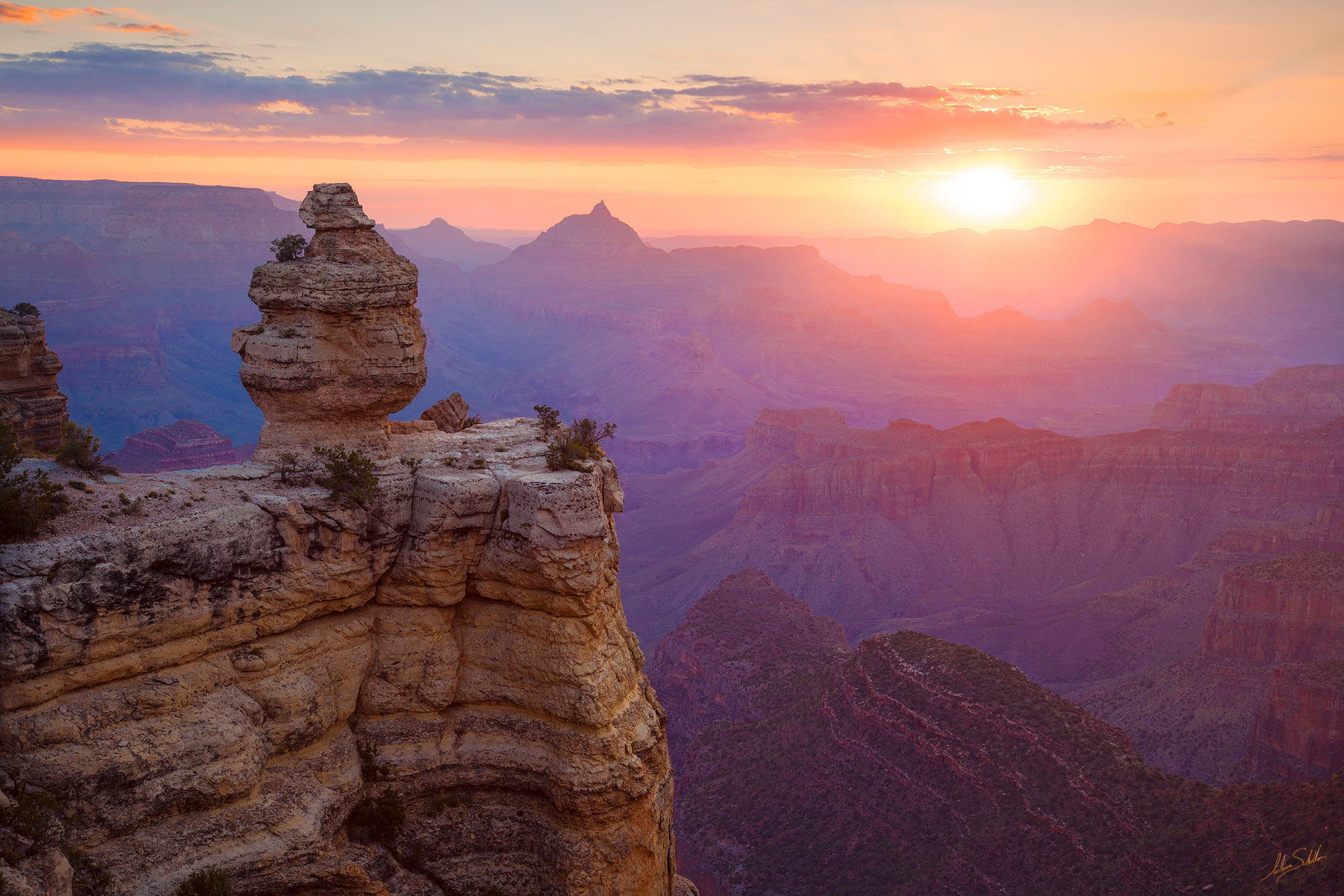 Arizona, Duck, Rock, Grand Canyon, National Park, South Rim, Summer, Sunrise, Vishnu Temple, Hoodoo, photo
