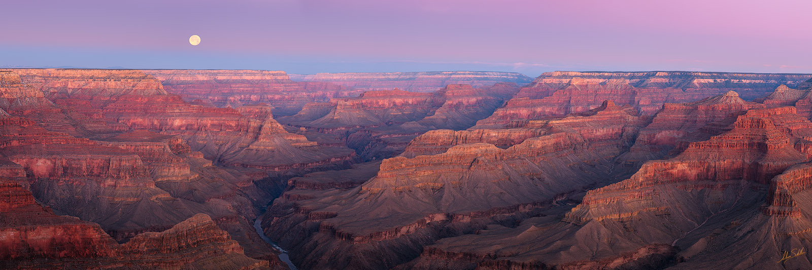 AZ, Arizona, Colorado River, full moon, Grand Canyon, Moon, National Park, Pano, Panorama, Panoramic, South Rim, Winter, photo