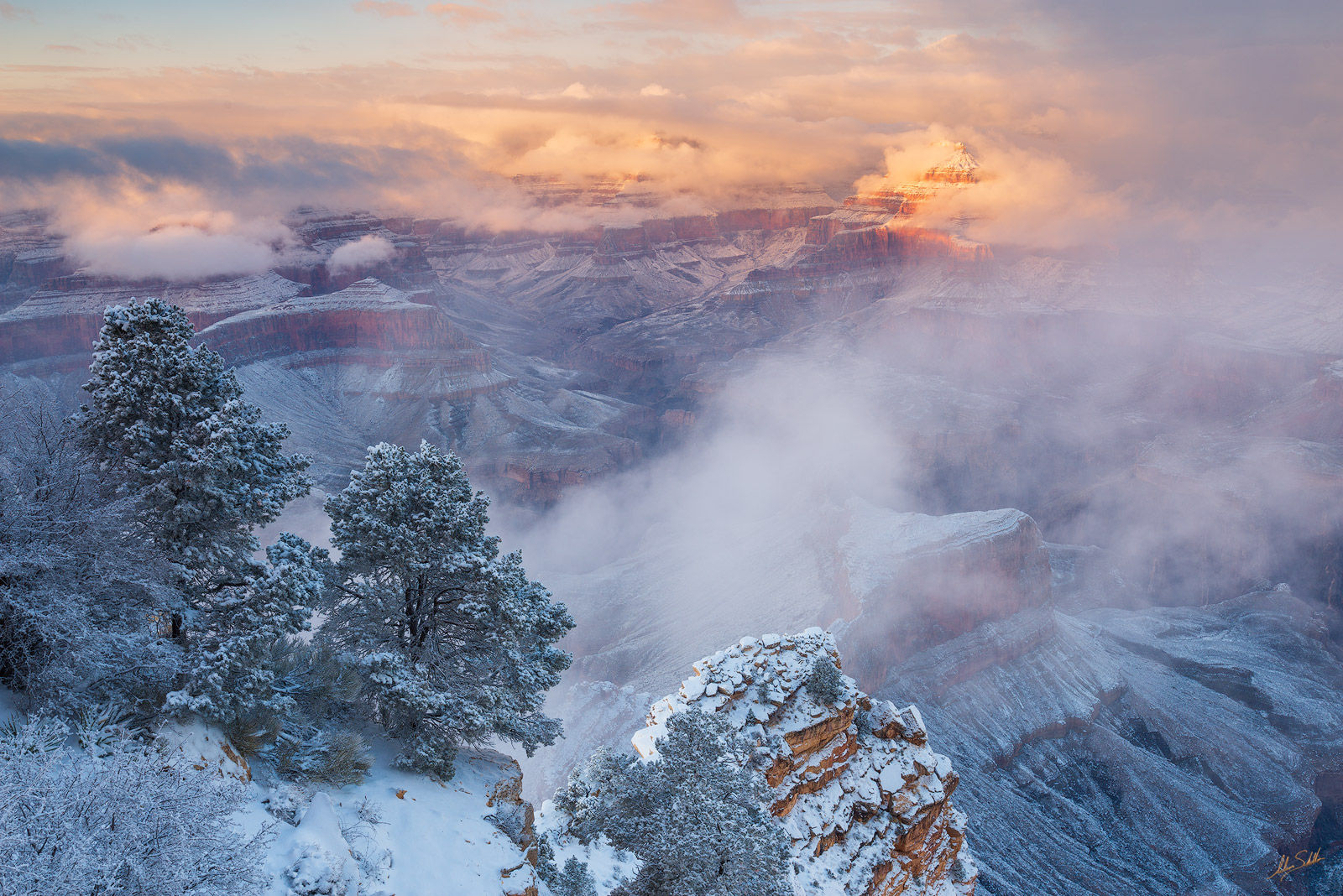 Arizona, Grand Canyon, Isis Temple, National Park, Snow, South Rim, Winter, photo