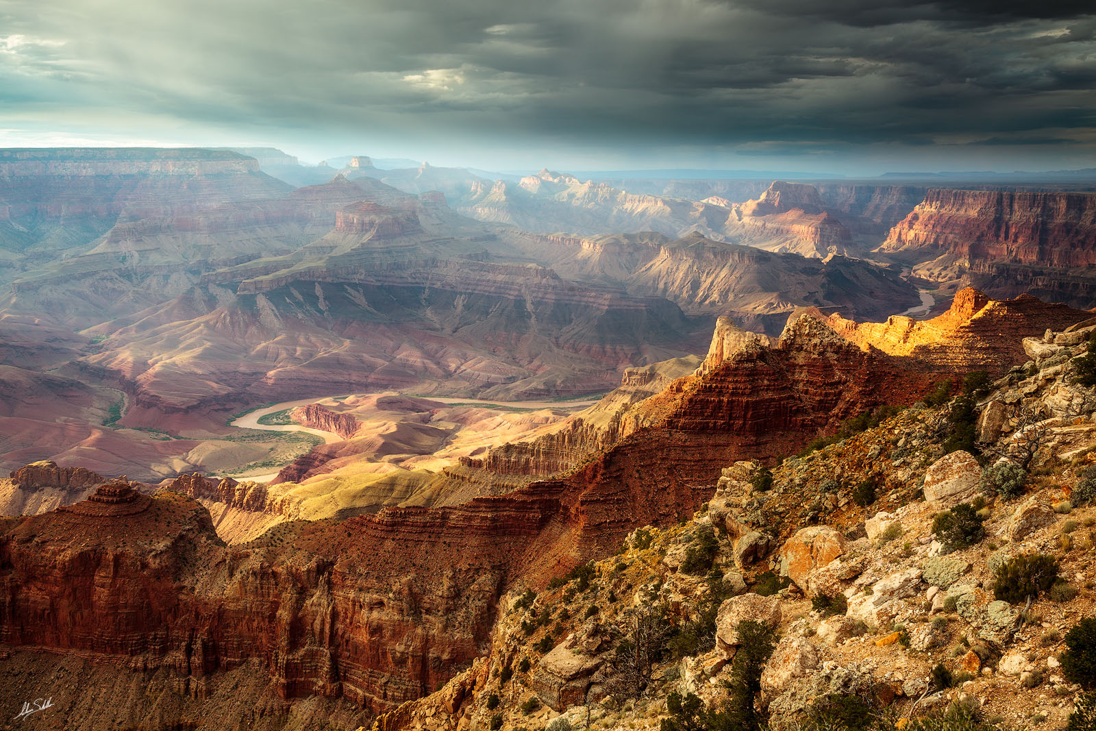 Afternoon light in the Grand Canyon and Colorado River. From Lipan Point on the South Rim of the canyon. © Adam Schallau, All...