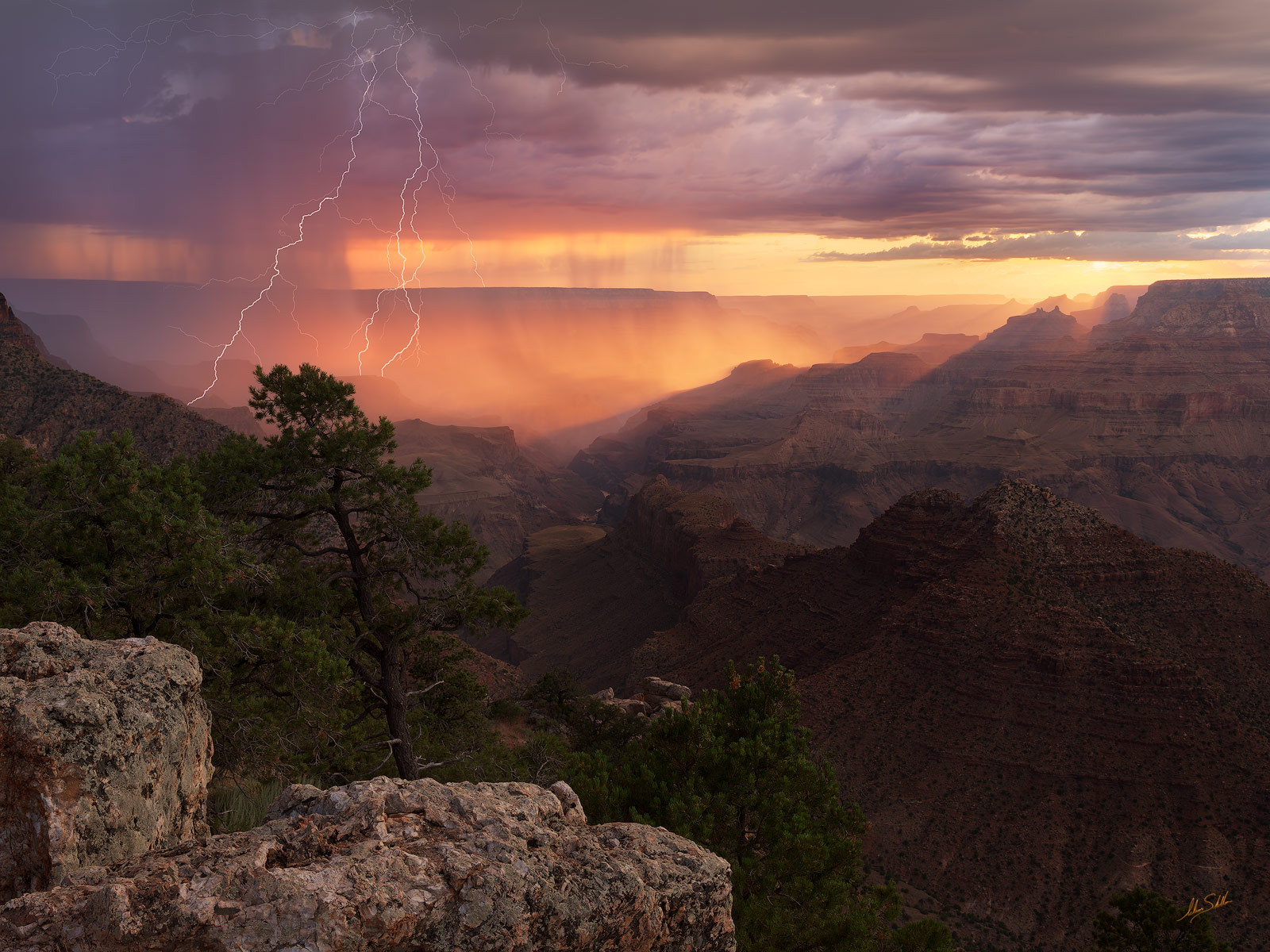 AZ, Arizona, Desert View, Grand Canyon, Lightning, Monsoon, National Park, Rain, South Rim, thunderstorm, photo