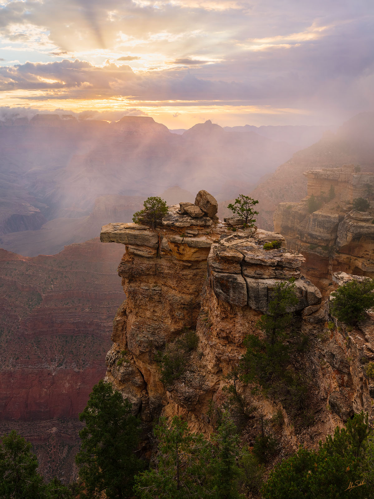 AZ, Arizona, Clouds, Fog, Grand Canyon, Mather Point, Monsoon, National Park, South Rim, photo