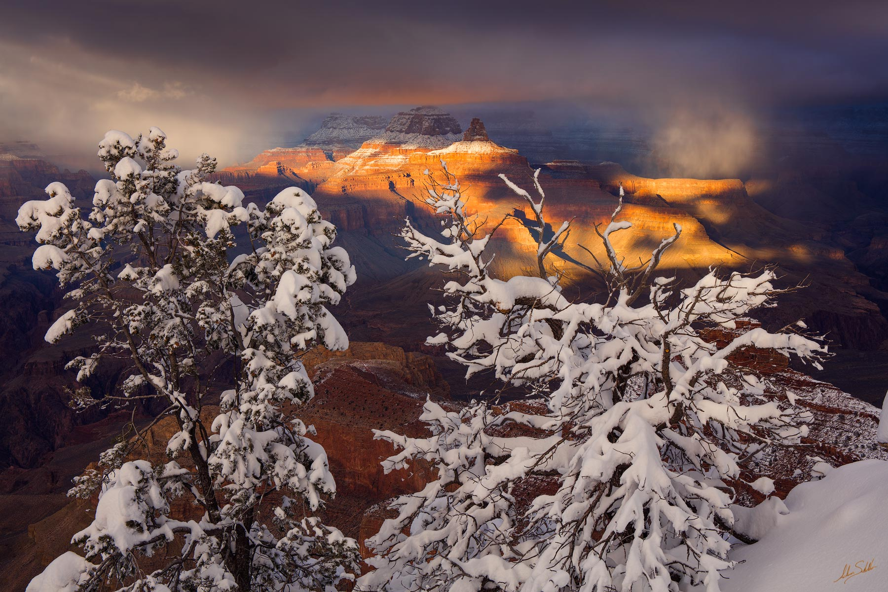 AZ, Arizona, Grand Canyon, Grand Canyon National Park, Snow, Snow at the Grand Canyon, South Rim, South Rim of the Grand Canyon, Winter, Winter at the Grand Canyon, mather point, photo