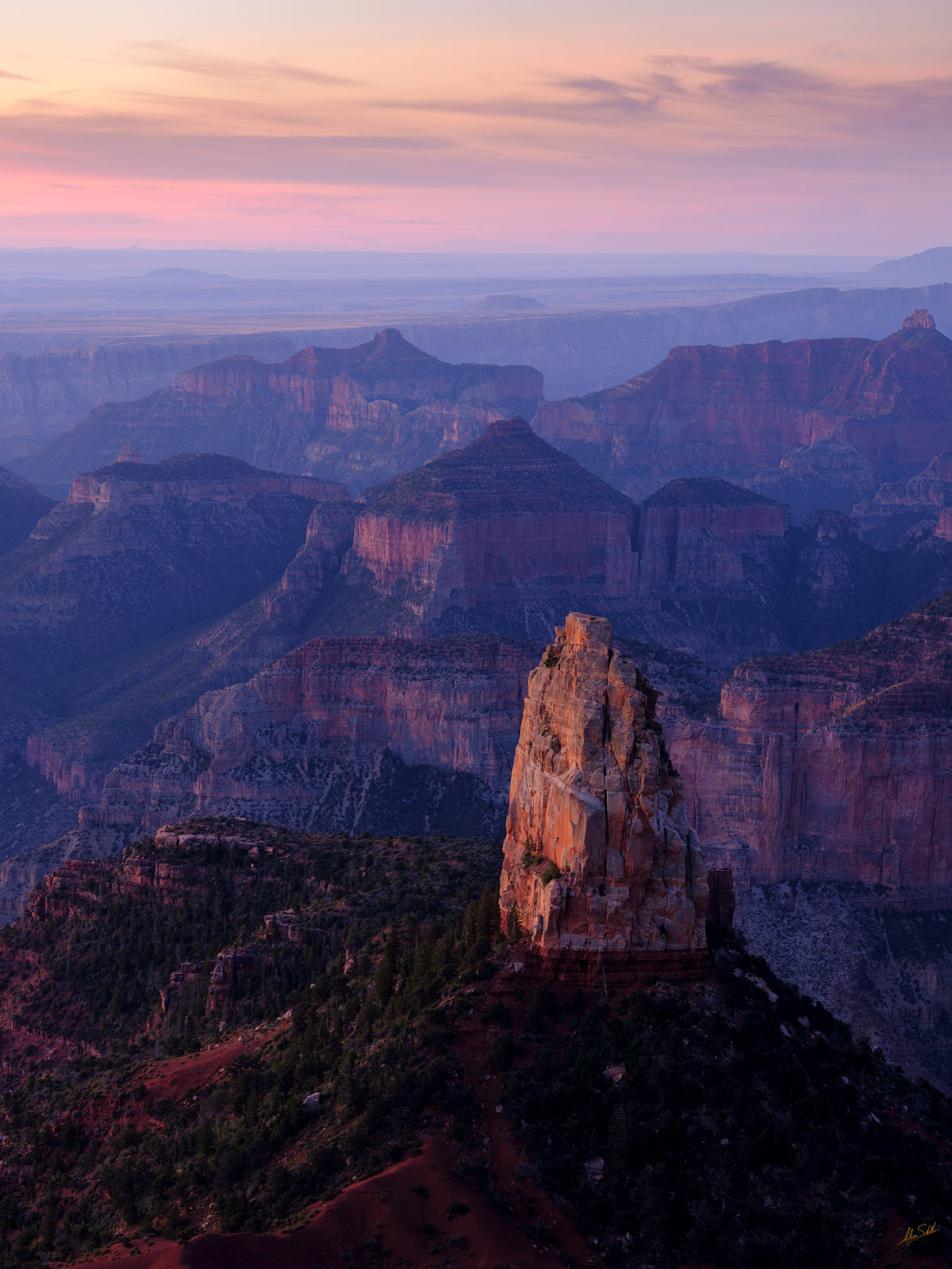 Early morning light begins to fall across Mount Hayden. From Point Imperial on the North Rim of Grand Canyon National Park. Photo...