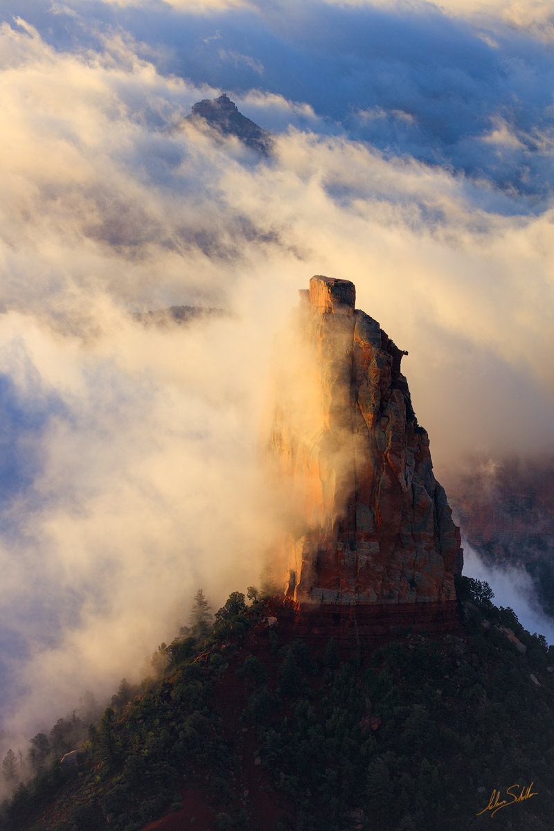 Grand Canyon, Mount Hayden, Hayden, National Park, North Rim, Point Imperial, Clouds, Inversion, Sunrise, photo