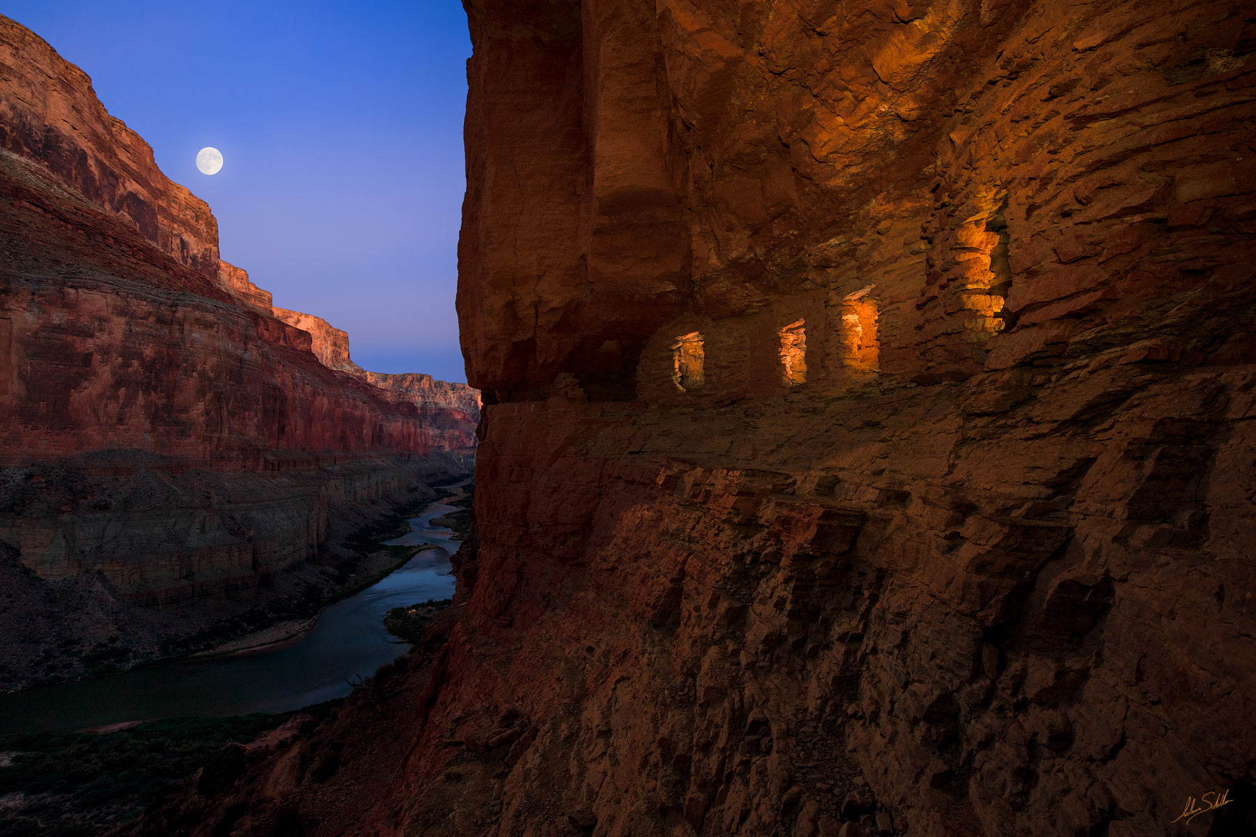 Arizona, Below the Rim, Colorado River, Expedition, Granaries, Grand Canyon, Grand Canyon National Park, Marble Canyon, Moon, Moonrise, Nankoweap, National Park, Native American, River Trip, Ruin,, photo