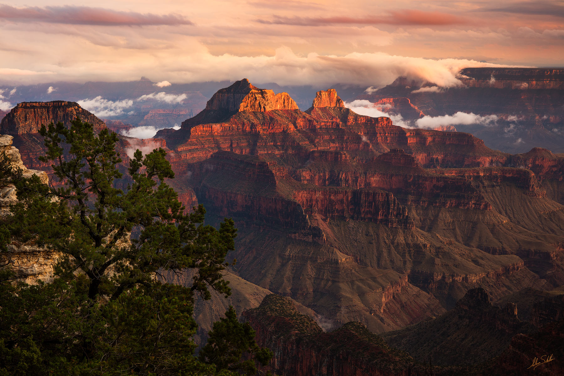 Arizona, Brahma Temple, Bright Angel, Bright Angel Point, Grand Canyon, Lodge, National Park, North Rim, Zoroaster Temple, Sunset, photo