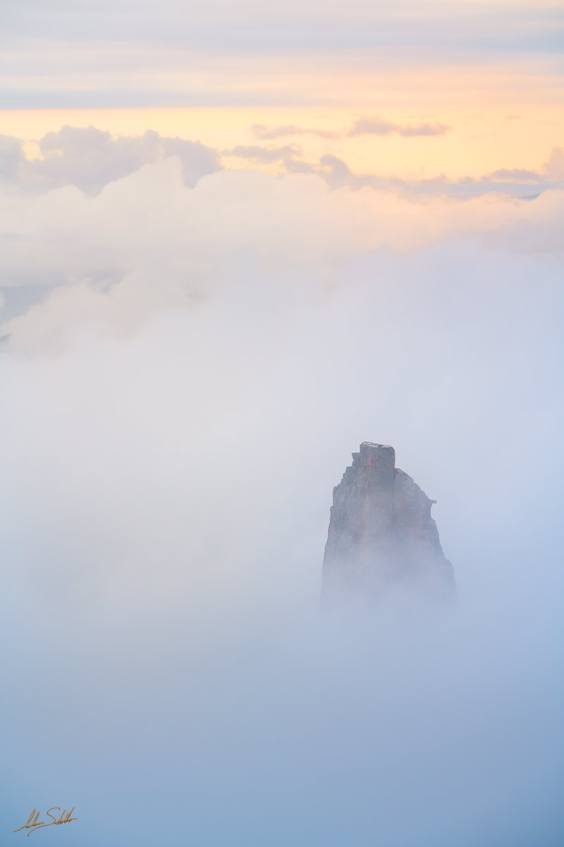 Mount Hayden in the clouds. From Point Imperial on the North Rim of Grand Canyon National Park in Arizona. Photo © Adam Schallau...