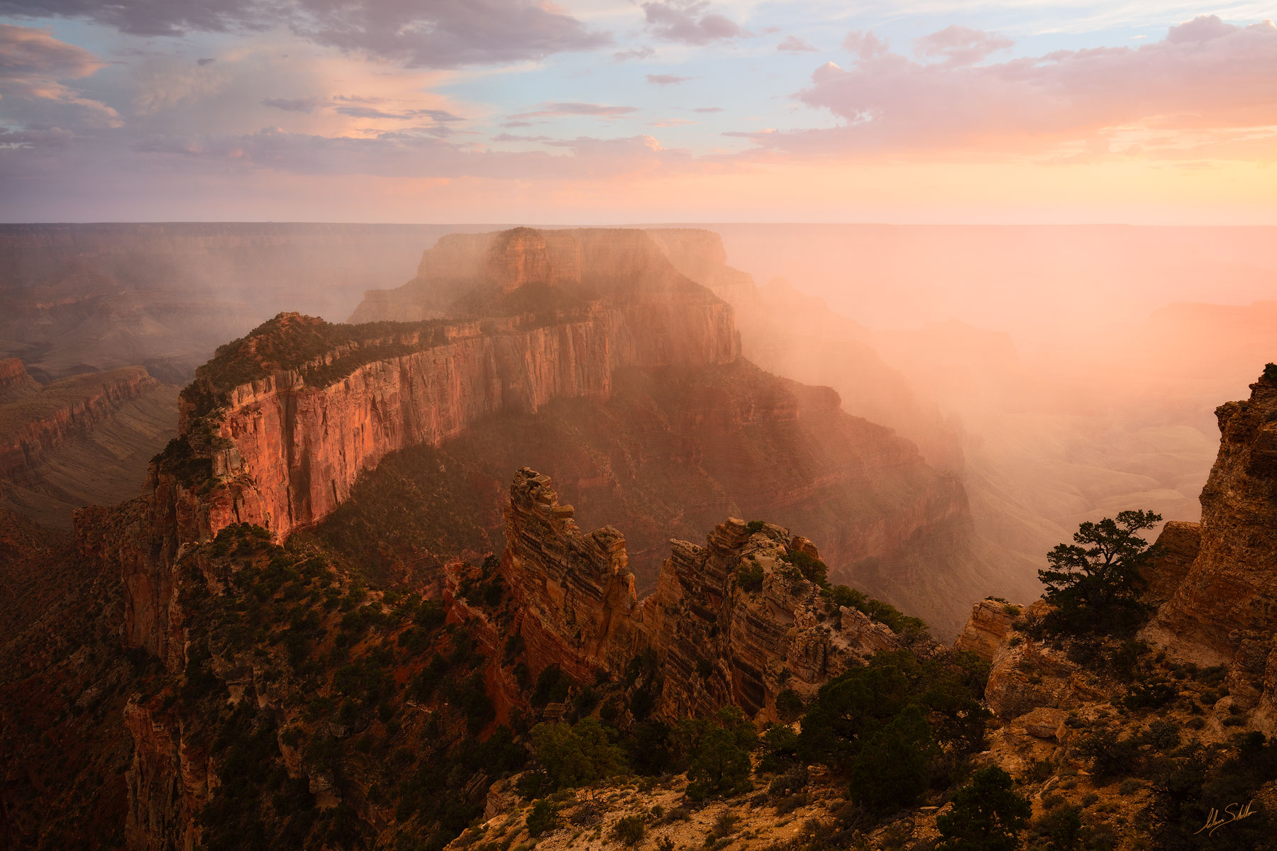 Arizona, Cape Royal, Wotans Throne, Grand Canyon, North Rim, Monsoon, Weather, Storm, Rain, Dramatic, photo