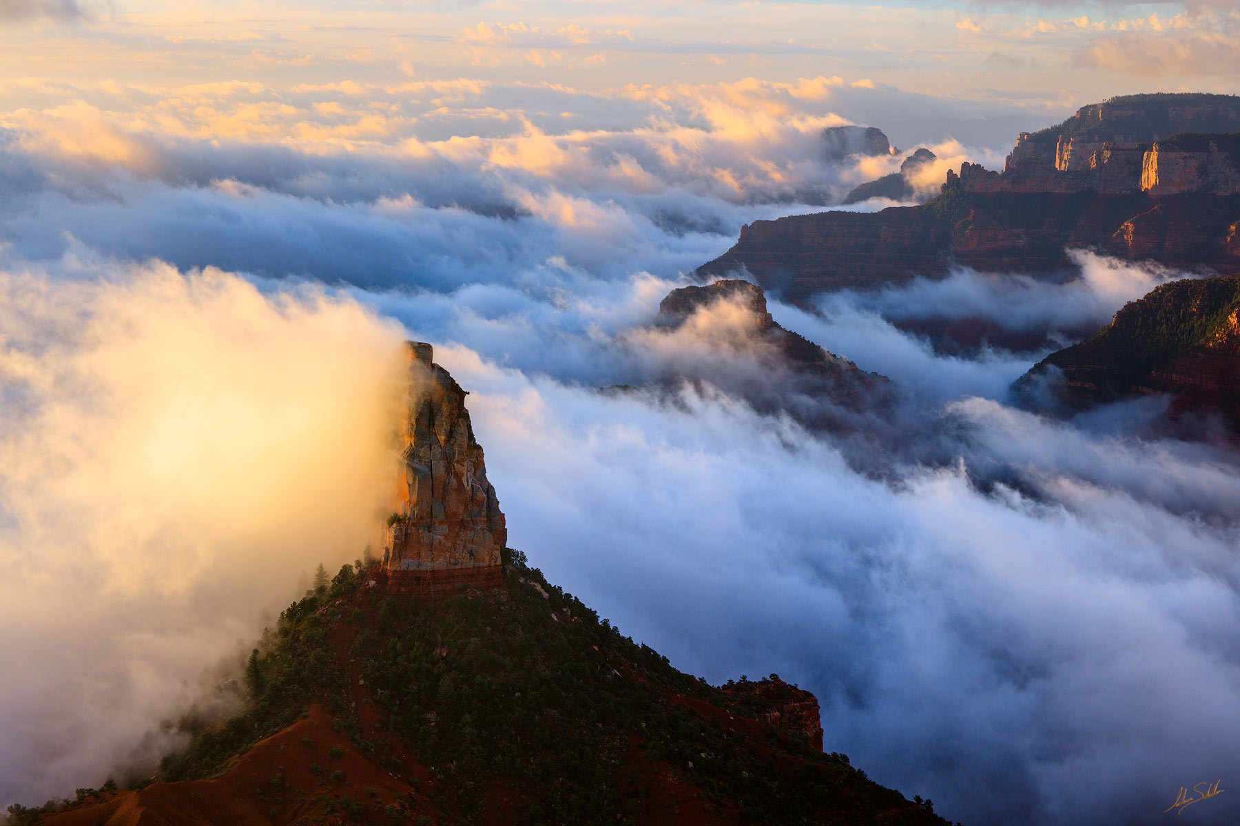 AZ, Arizona, Clouds, Grand Canyon, Hayden, Mount Hayden, North Rim, Point Imperial, Weather, Monsoon, Inversion, Dramatic, photo